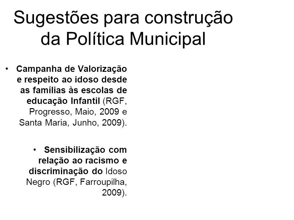 Sugestões para construção da Política Municipal