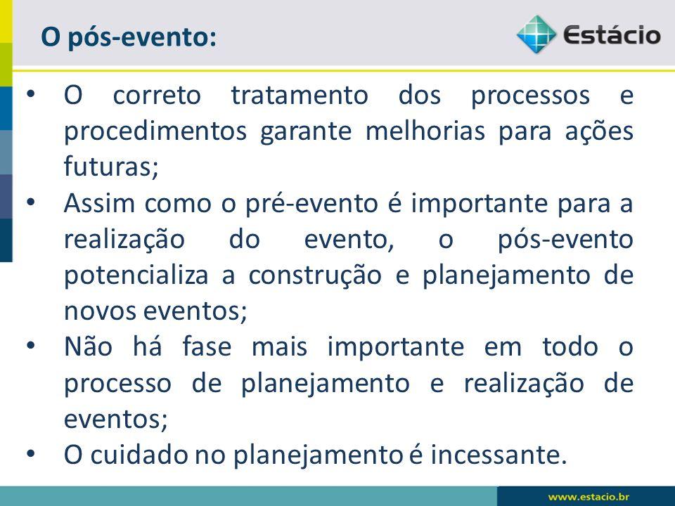 O pós-evento: O correto tratamento dos processos e procedimentos garante melhorias para ações futuras;