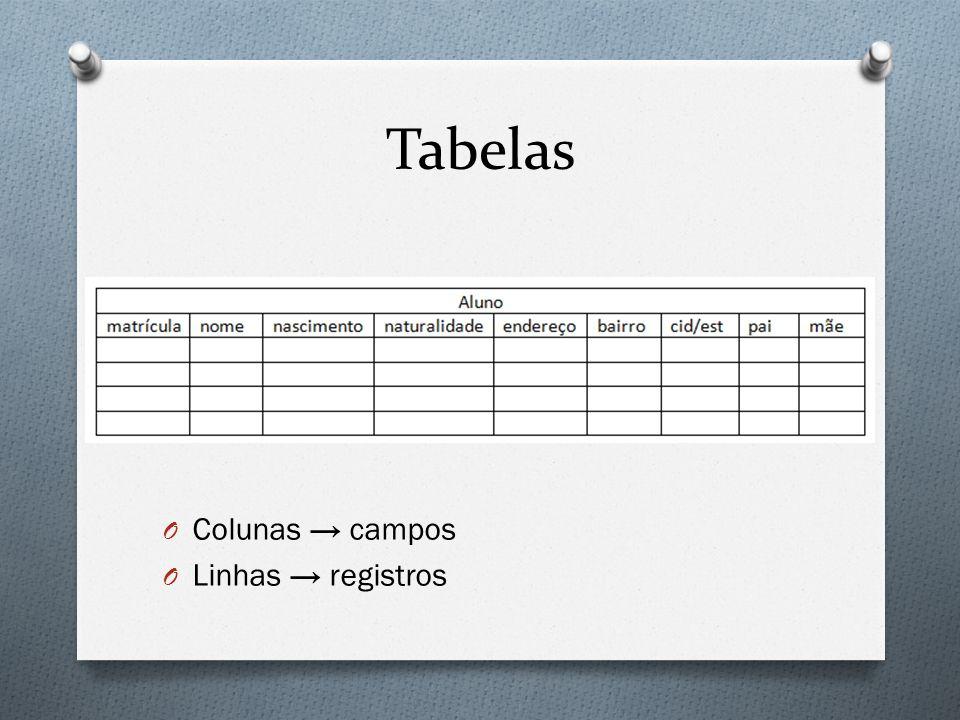Tabelas Colunas → campos Linhas → registros