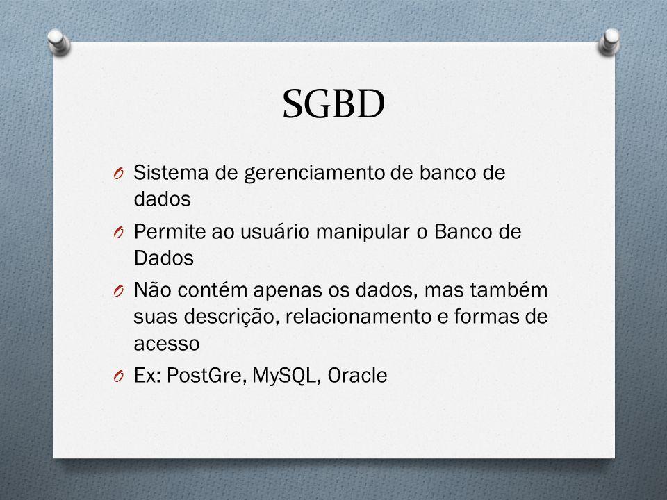 SGBD Sistema de gerenciamento de banco de dados