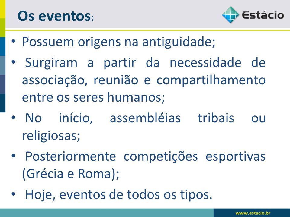 Os eventos: Possuem origens na antiguidade;