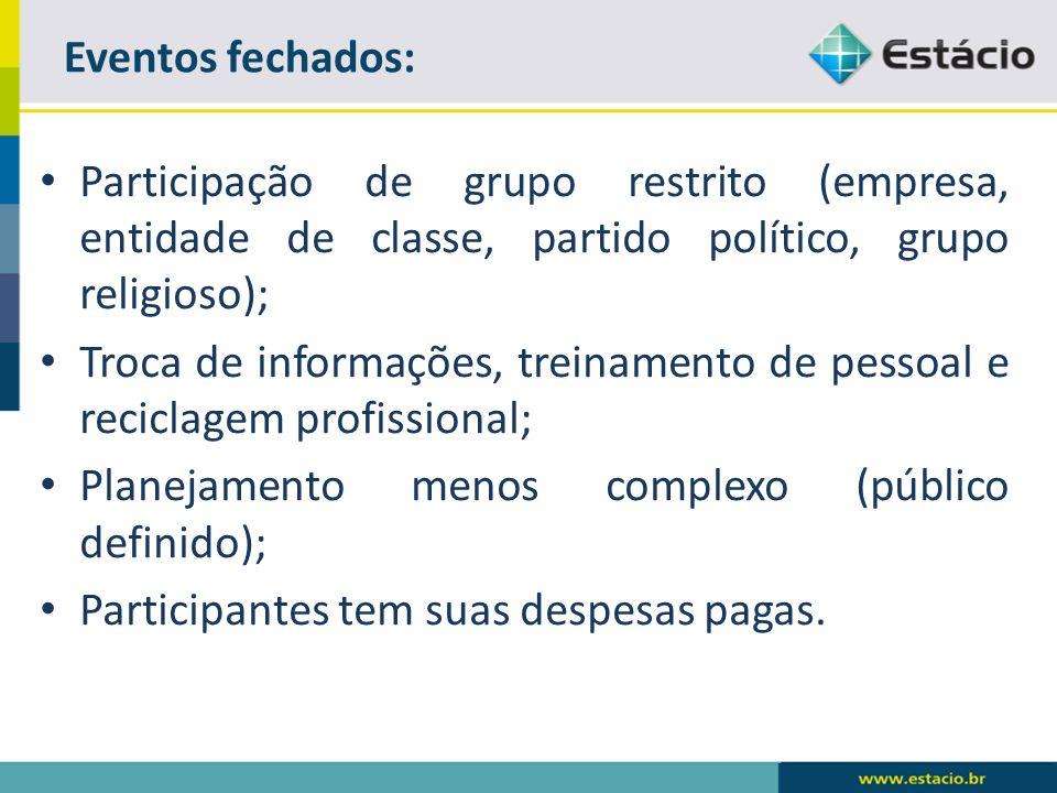 Eventos fechados: Participação de grupo restrito (empresa, entidade de classe, partido político, grupo religioso);