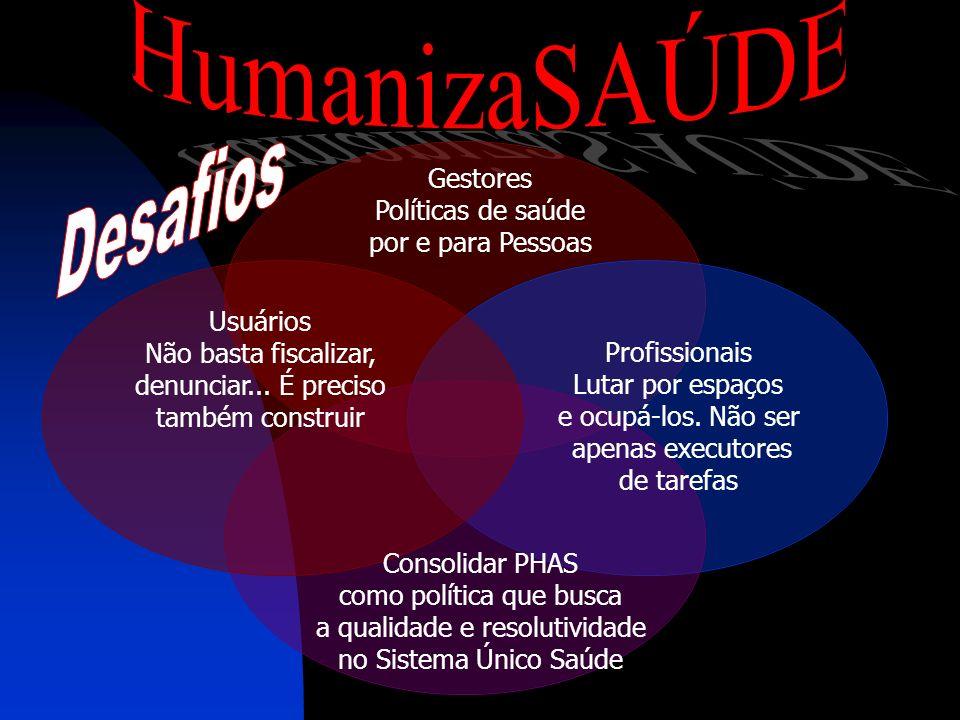 HumanizaSAÚDE Desafios Gestores Políticas de saúde por e para Pessoas