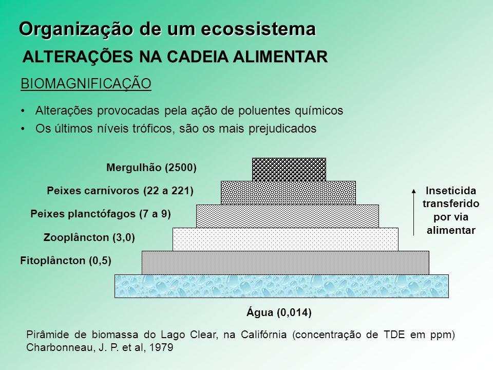 Peixes planctófagos (7 a 9) Inseticida transferido por via alimentar
