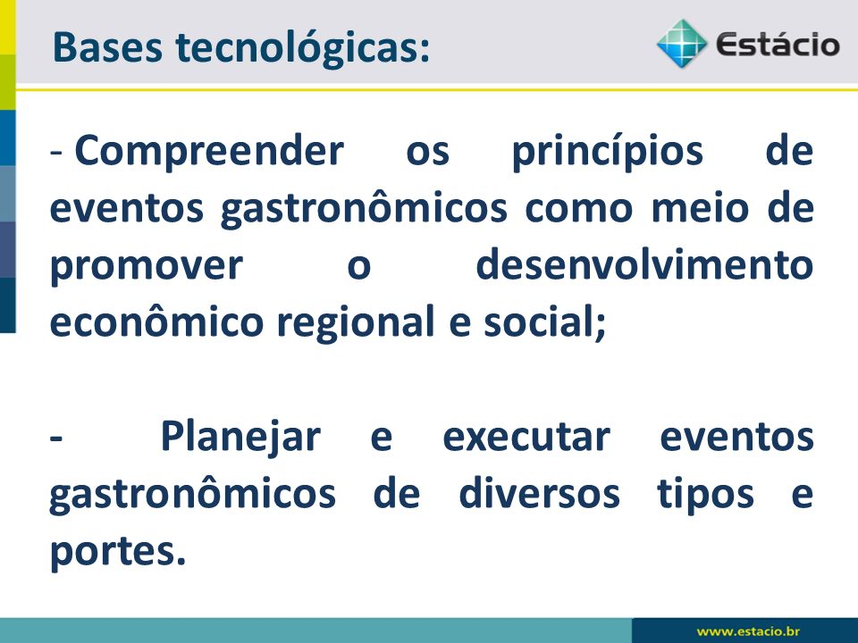 Bases tecnológicas: Compreender os princípios de eventos gastronômicos como meio de promover o desenvolvimento econômico regional e social;