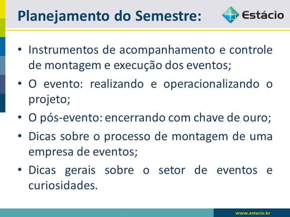 Planejamento do Semestre:
