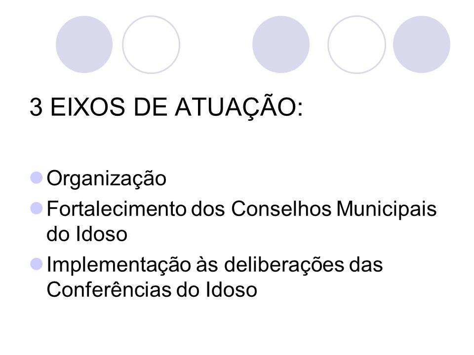 3 EIXOS DE ATUAÇÃO: Organização