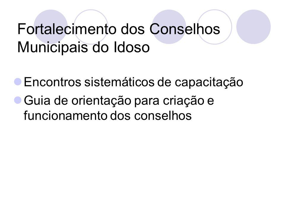 Fortalecimento dos Conselhos Municipais do Idoso