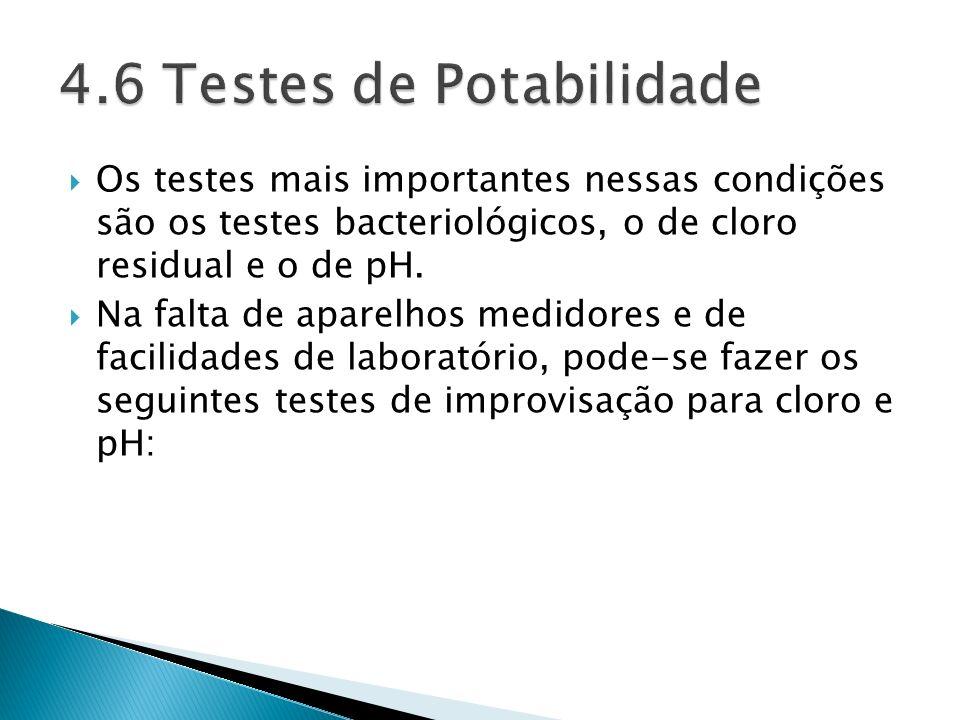 4.6 Testes de Potabilidade