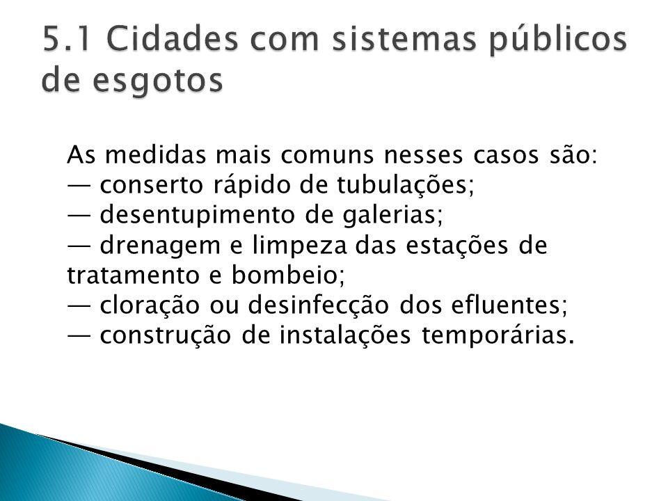 5.1 Cidades com sistemas públicos de esgotos