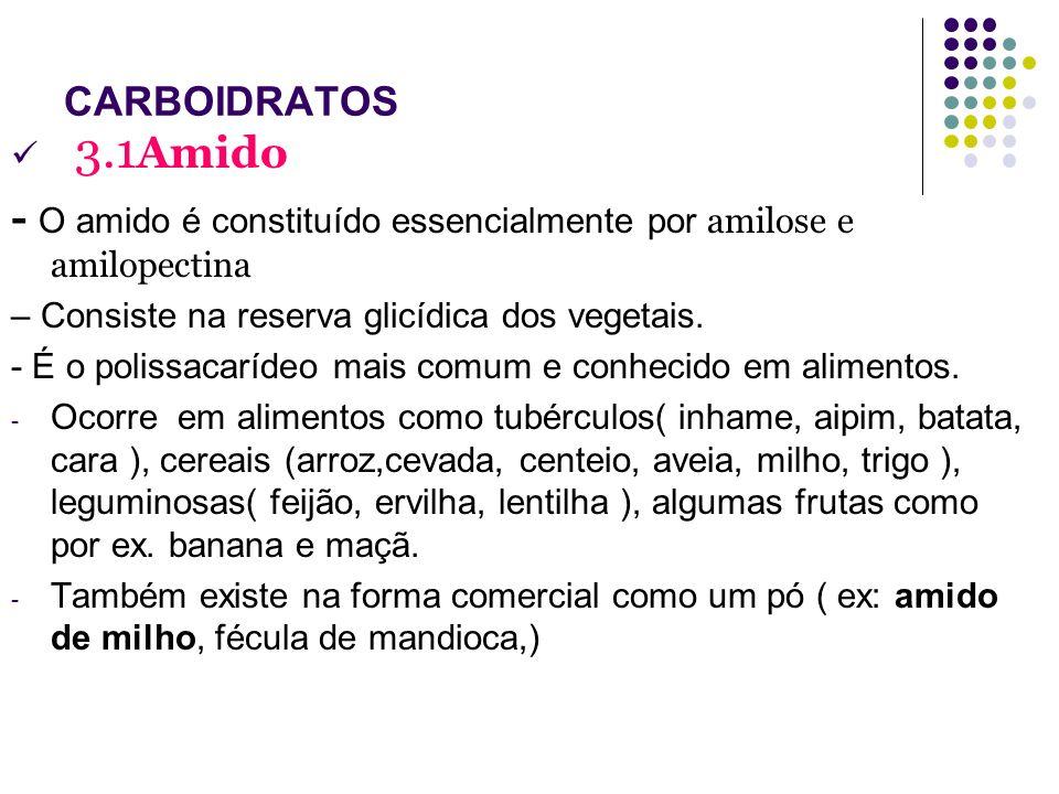 CARBOIDRATOS 3.1Amido. - O amido é constituído essencialmente por amilose e amilopectina. – Consiste na reserva glicídica dos vegetais.