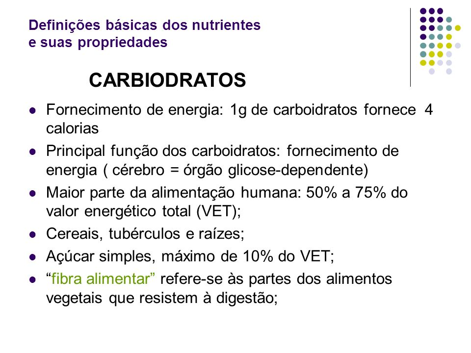 Definições básicas dos nutrientes e suas propriedades
