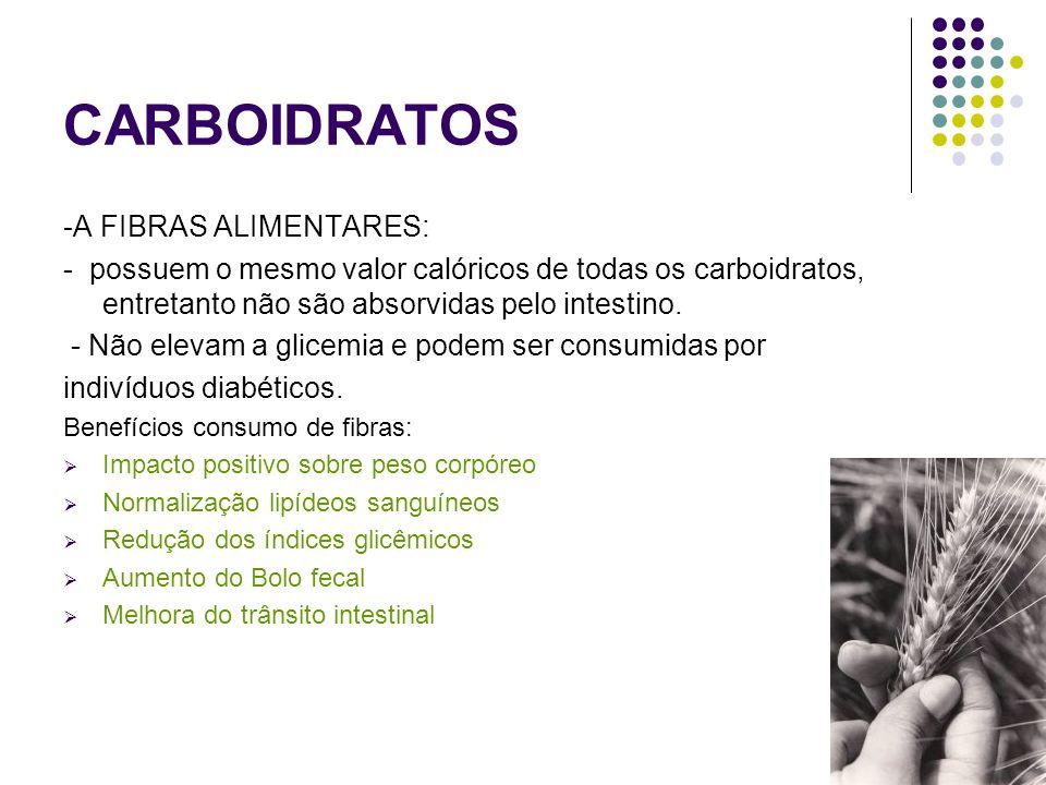 CARBOIDRATOS -A FIBRAS ALIMENTARES: