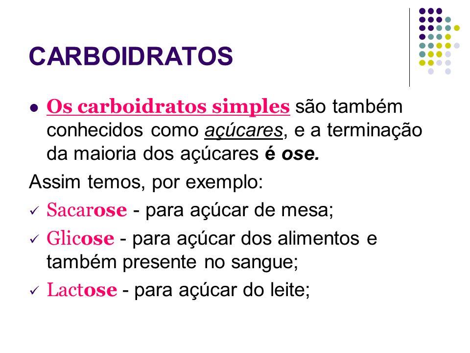 CARBOIDRATOSOs carboidratos simples são também conhecidos como açúcares, e a terminação da maioria dos açúcares é ose.