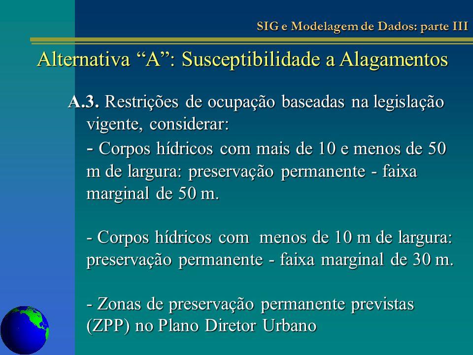 Alternativa A : Susceptibilidade a Alagamentos
