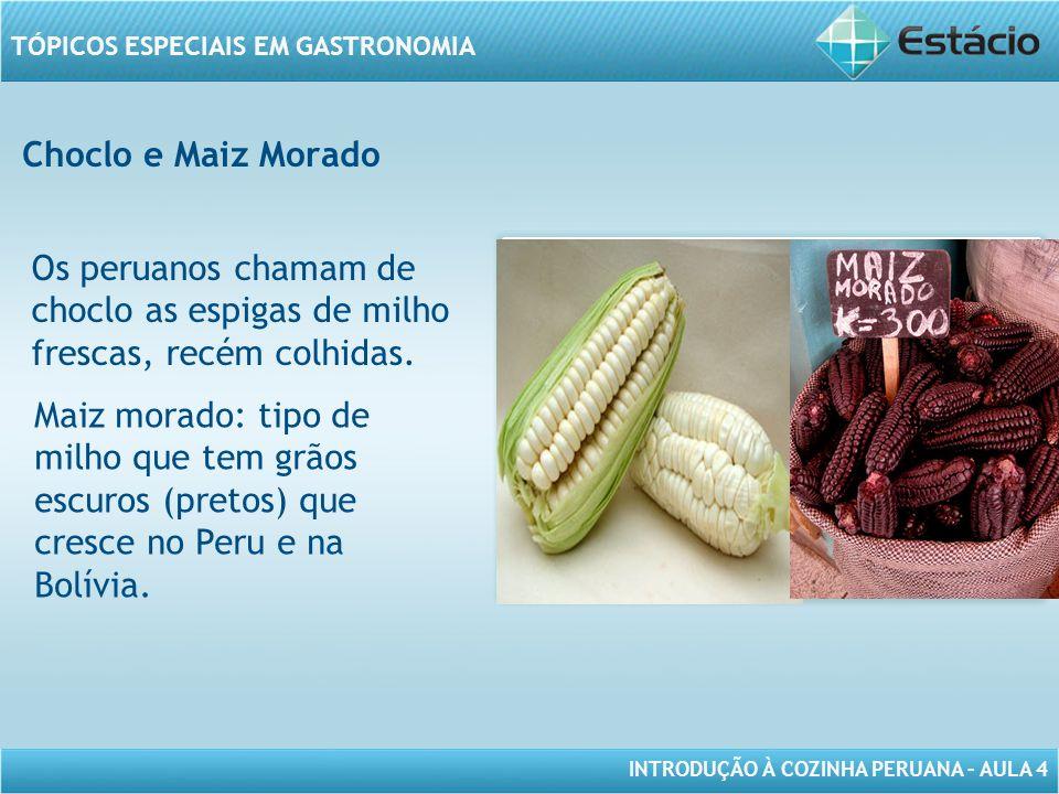 Choclo e Maiz Morado Os peruanos chamam de choclo as espigas de milho frescas, recém colhidas.