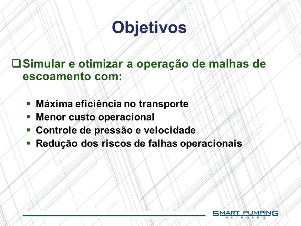 Objetivos Simular e otimizar a operação de malhas de escoamento com: