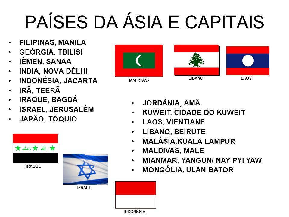 PAÍSES DA ÁSIA E CAPITAIS