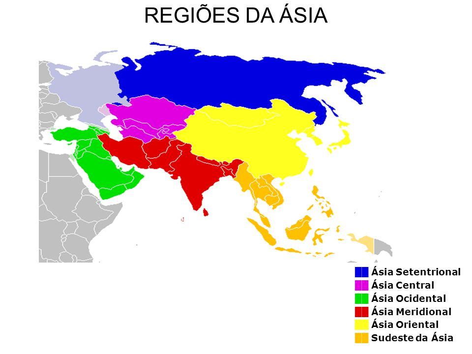 REGIÕES DA ÁSIA ██ Ásia Setentrional ██ Ásia Central ██ Ásia Ocidental