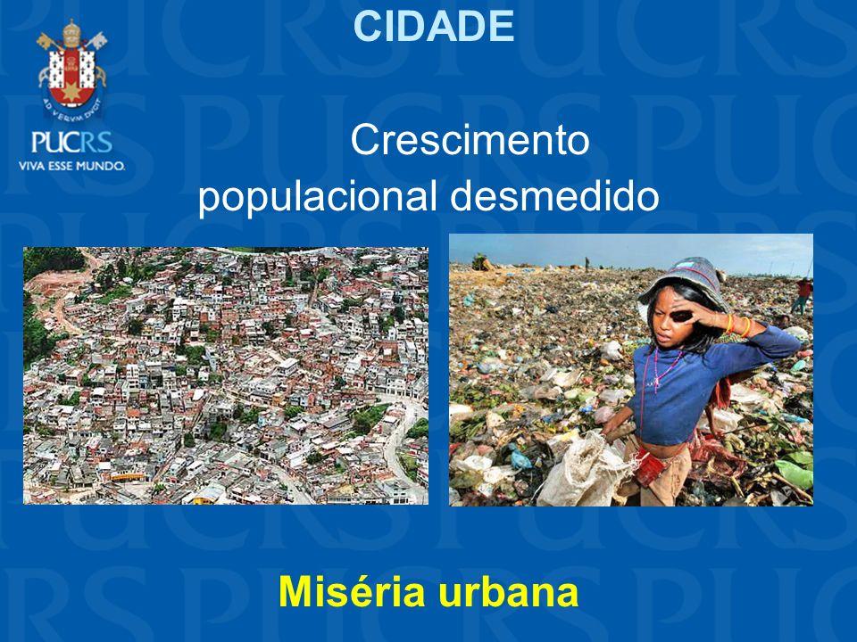 CIDADE Crescimento populacional desmedido Miséria urbana