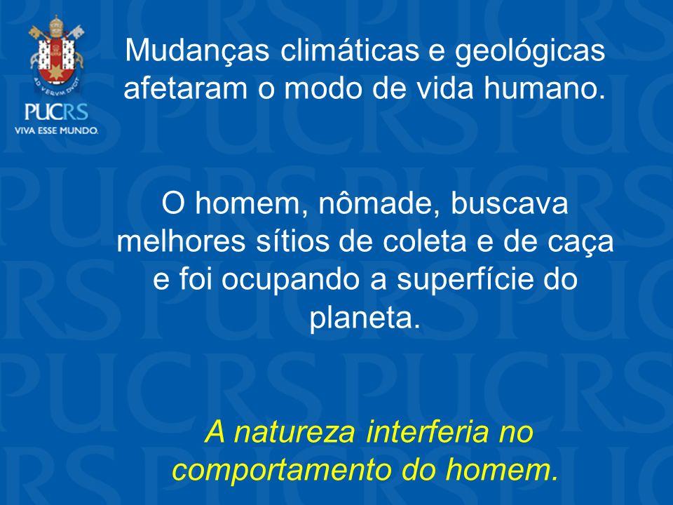 Mudanças climáticas e geológicas afetaram o modo de vida humano.