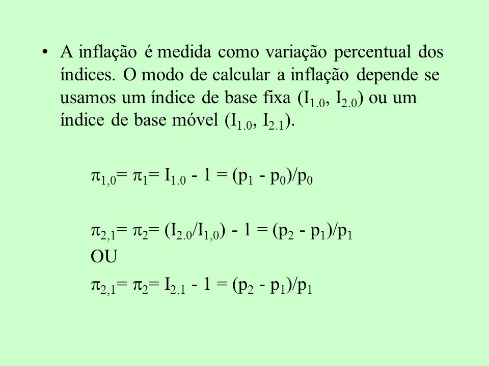 A inflação é medida como variação percentual dos índices