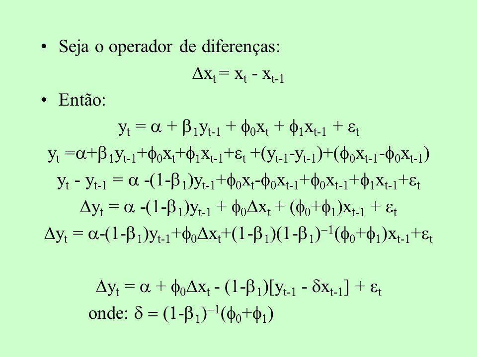 Seja o operador de diferenças: Dxt = xt - xt-1 Então: