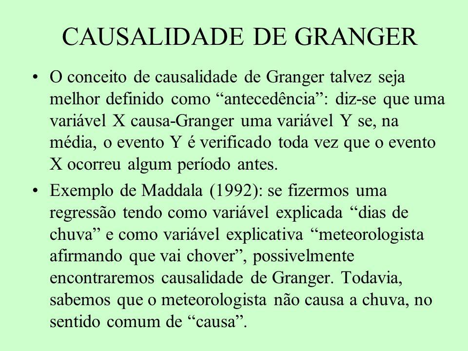 CAUSALIDADE DE GRANGER