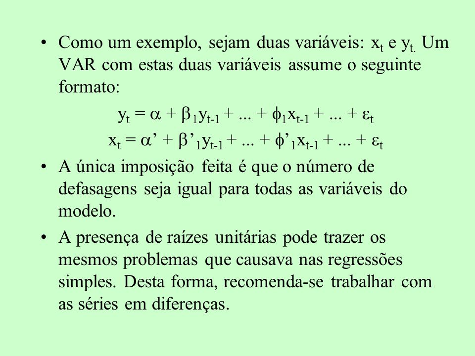 xt = ' + b'1yt-1 + ... + f'1xt-1 + ... + t