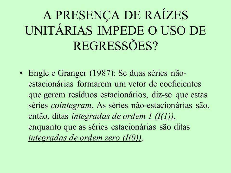 A PRESENÇA DE RAÍZES UNITÁRIAS IMPEDE O USO DE REGRESSÕES