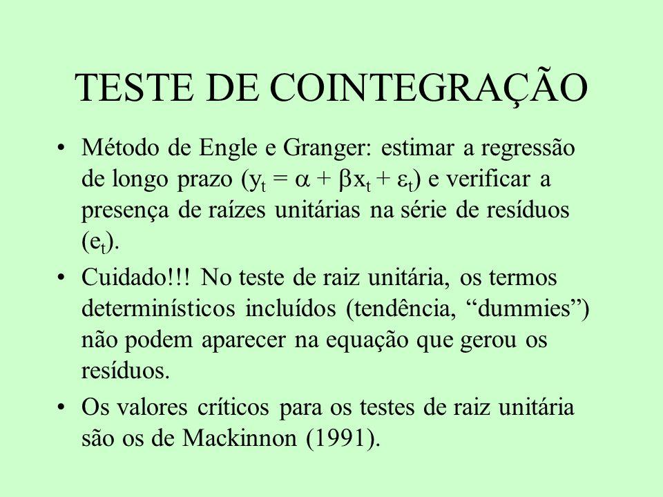TESTE DE COINTEGRAÇÃO