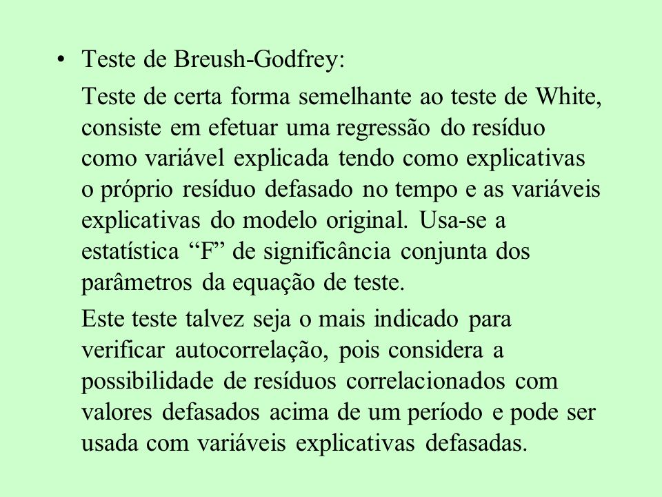 Teste de Breush-Godfrey: