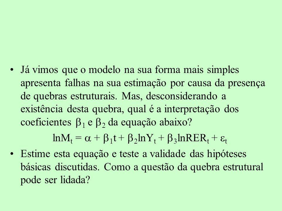 lnMt = a + b1t + b2lnYt + b3lnRERt + et