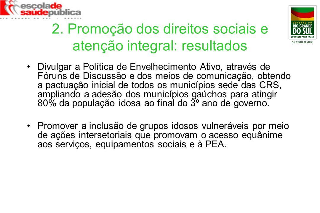 2. Promoção dos direitos sociais e atenção integral: resultados