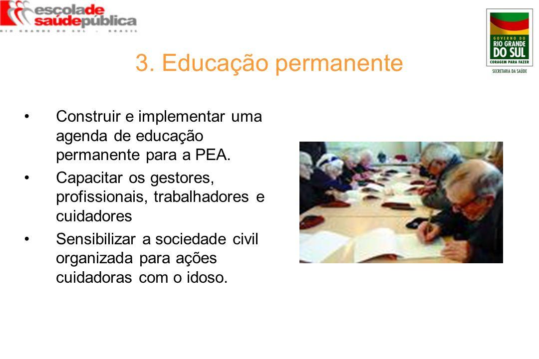 3. Educação permanente Construir e implementar uma agenda de educação permanente para a PEA.