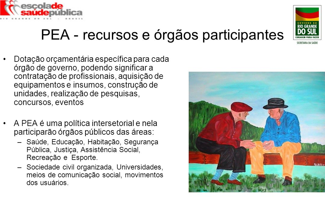 PEA - recursos e órgãos participantes