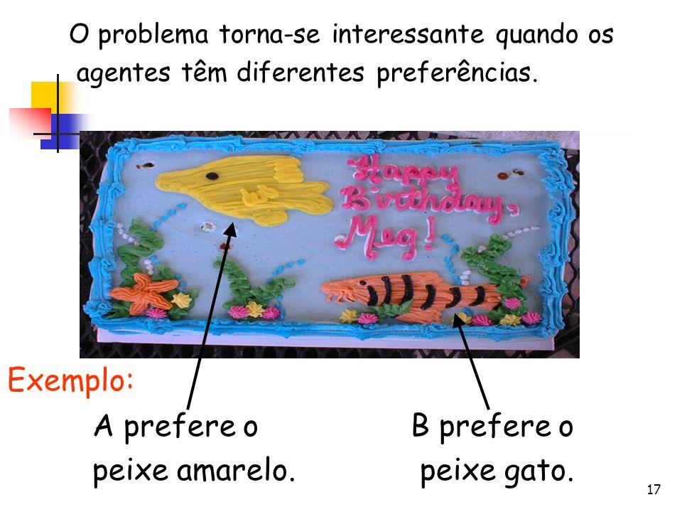 Exemplo: A prefere o peixe amarelo. B prefere o peixe gato.