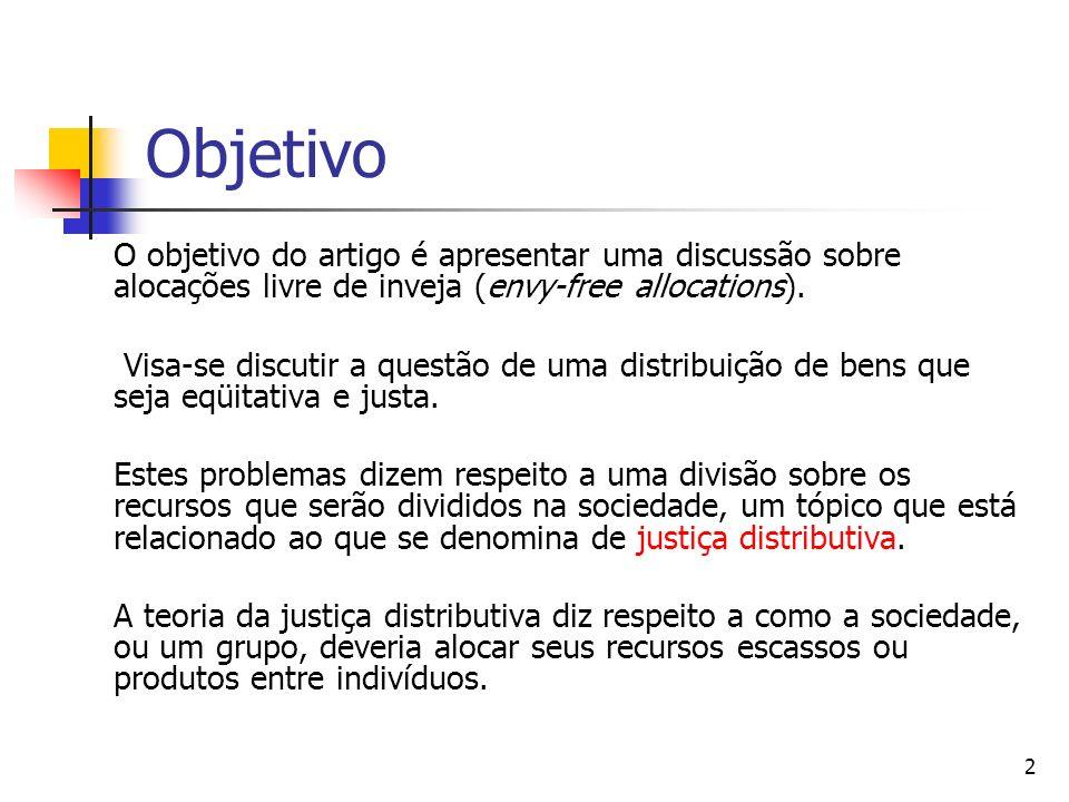 Objetivo O objetivo do artigo é apresentar uma discussão sobre alocações livre de inveja (envy-free allocations).