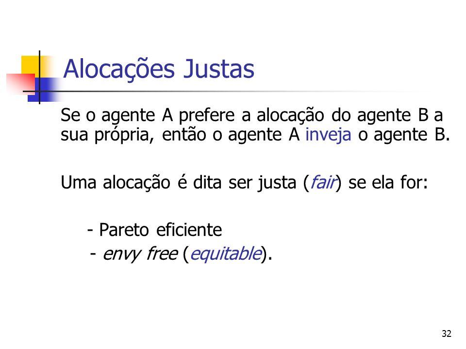 Alocações Justas Se o agente A prefere a alocação do agente B a sua própria, então o agente A inveja o agente B.