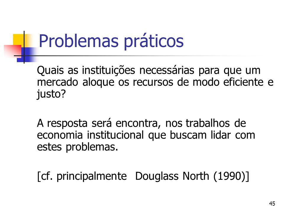 Problemas práticos Quais as instituições necessárias para que um mercado aloque os recursos de modo eficiente e justo