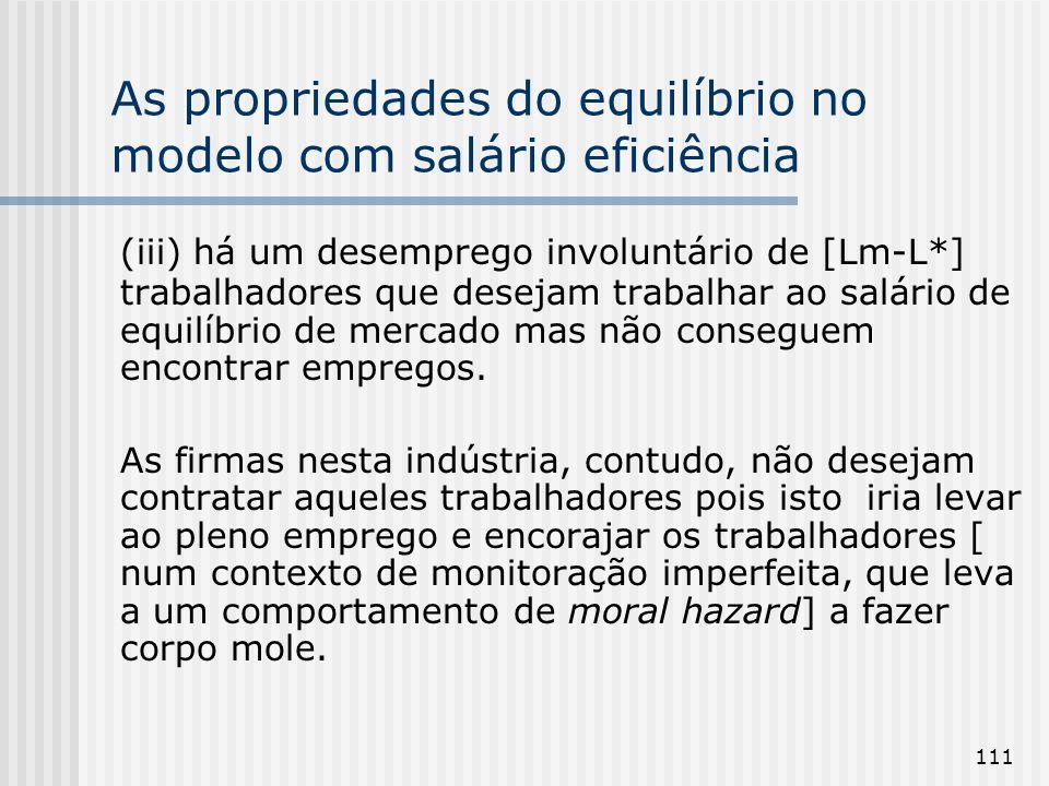 As propriedades do equilíbrio no modelo com salário eficiência