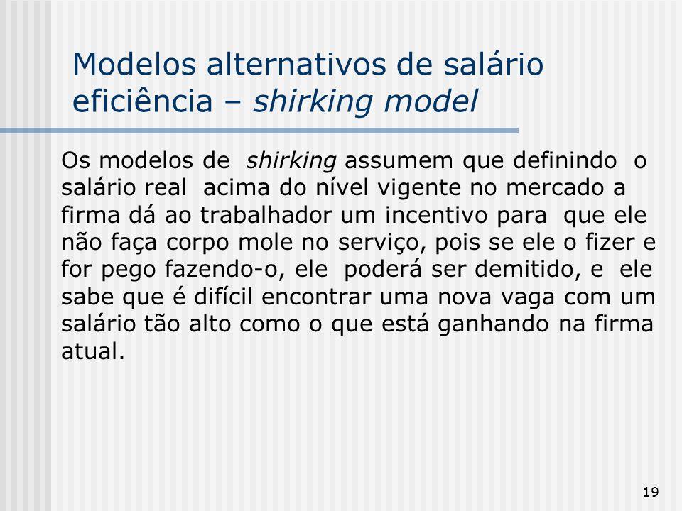 Modelos alternativos de salário eficiência – shirking model