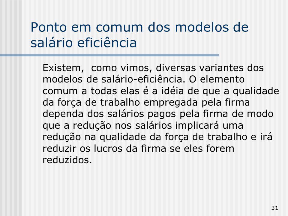 Ponto em comum dos modelos de salário eficiência