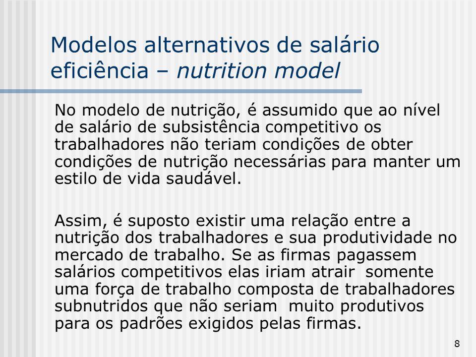 Modelos alternativos de salário eficiência – nutrition model