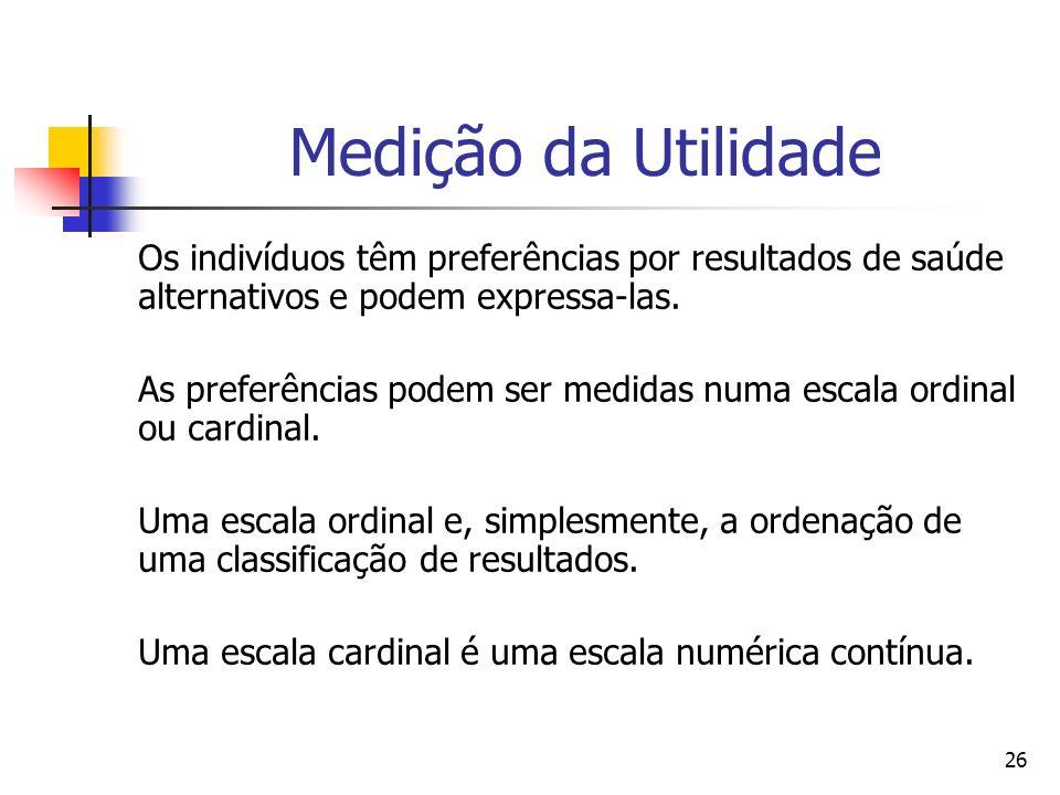 Medição da Utilidade Os indivíduos têm preferências por resultados de saúde alternativos e podem expressa-las.