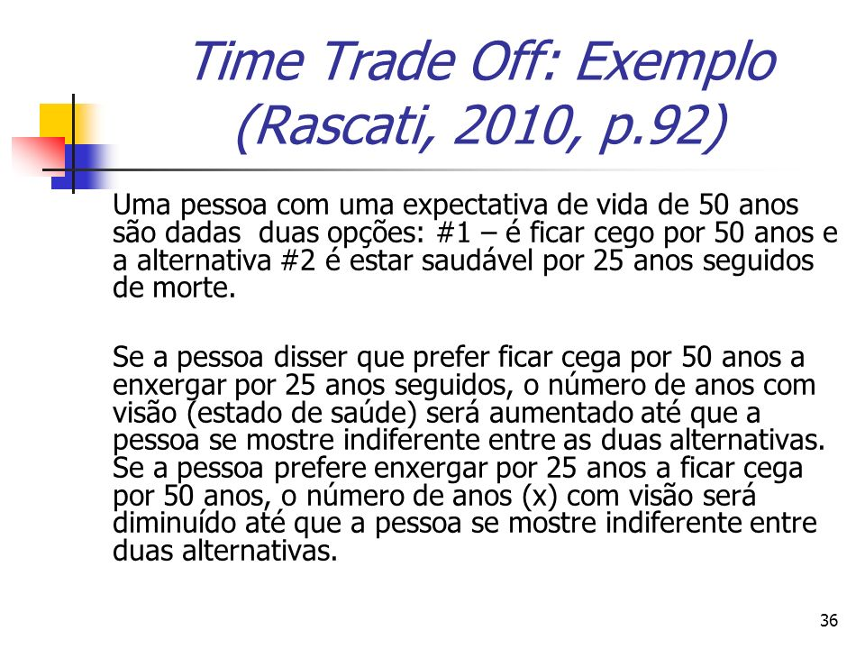 Time Trade Off: Exemplo (Rascati, 2010, p.92)