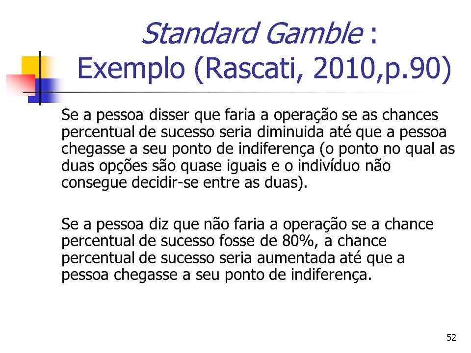 Standard Gamble : Exemplo (Rascati, 2010,p.90)