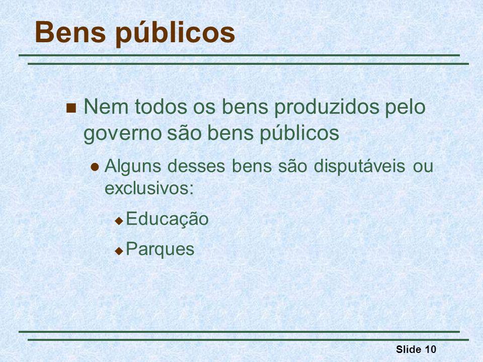 Bens públicos Nem todos os bens produzidos pelo governo são bens públicos. Alguns desses bens são disputáveis ou exclusivos: