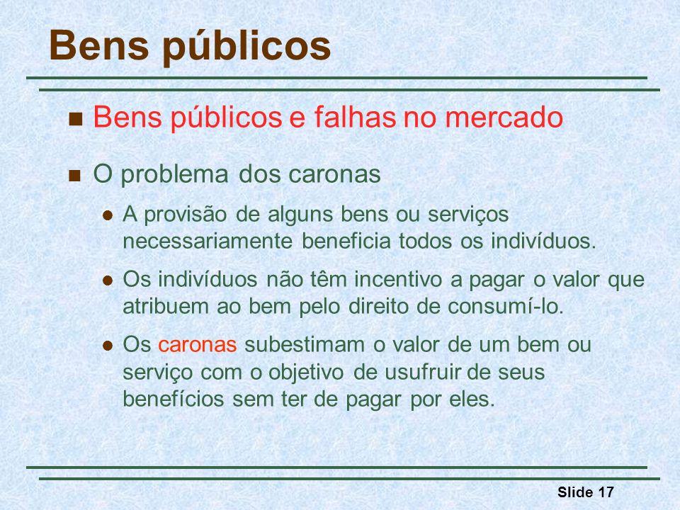 Bens públicos Bens públicos e falhas no mercado O problema dos caronas