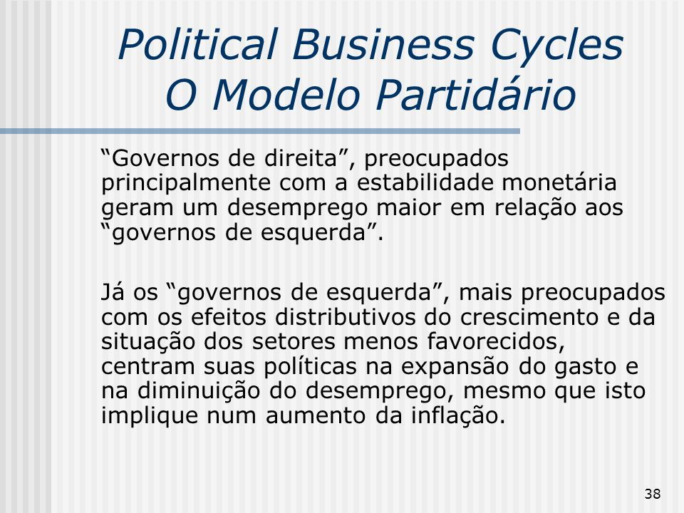 Political Business Cycles O Modelo Partidário